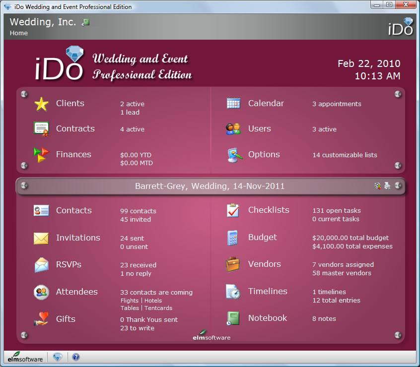 ido wedding and event professional edition home screen